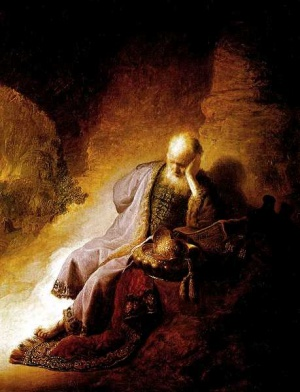 Jeremiah lamenting the destruction of Jerusalem - Rembrandt